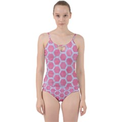 HEXAGON2 WHITE MARBLE & PINK WATERCOLOR Cut Out Top Tankini Set