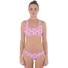 HEXAGON2 WHITE MARBLE & PINK WATERCOLOR Cross Back Hipster Bikini Set