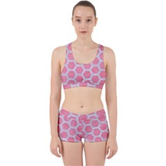 HEXAGON2 WHITE MARBLE & PINK WATERCOLOR Work It Out Gym Set