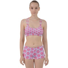 HEXAGON2 WHITE MARBLE & PINK WATERCOLOR Women s Sports Set