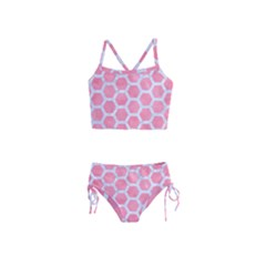 HEXAGON2 WHITE MARBLE & PINK WATERCOLOR Girls  Tankini Swimsuit