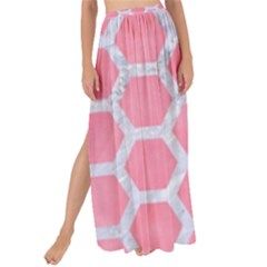 HEXAGON2 WHITE MARBLE & PINK WATERCOLOR Maxi Chiffon Tie-Up Sarong