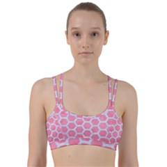 HEXAGON2 WHITE MARBLE & PINK WATERCOLOR Line Them Up Sports Bra