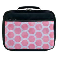 HEXAGON2 WHITE MARBLE & PINK WATERCOLOR Lunch Bag