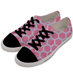 HEXAGON2 WHITE MARBLE & PINK WATERCOLOR Men s Low Top Canvas Sneakers