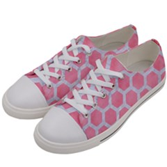 HEXAGON2 WHITE MARBLE & PINK WATERCOLOR Women s Low Top Canvas Sneakers