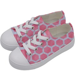 HEXAGON2 WHITE MARBLE & PINK WATERCOLOR Kids  Low Top Canvas Sneakers