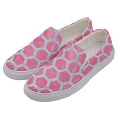 HEXAGON2 WHITE MARBLE & PINK WATERCOLOR Men s Canvas Slip Ons
