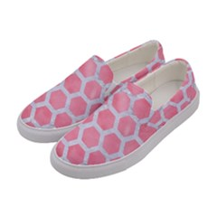 HEXAGON2 WHITE MARBLE & PINK WATERCOLOR Women s Canvas Slip Ons
