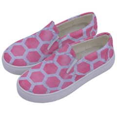 HEXAGON2 WHITE MARBLE & PINK WATERCOLOR Kids  Canvas Slip Ons