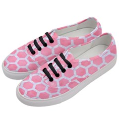 HEXAGON2 WHITE MARBLE & PINK WATERCOLOR Women s Classic Low Top Sneakers
