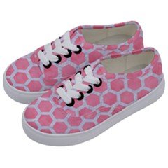 HEXAGON2 WHITE MARBLE & PINK WATERCOLOR Kids  Classic Low Top Sneakers