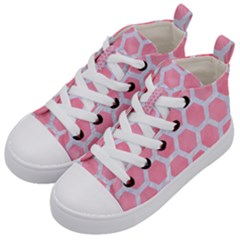 HEXAGON2 WHITE MARBLE & PINK WATERCOLOR Kid s Mid-Top Canvas Sneakers