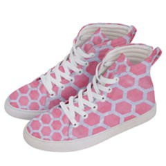 HEXAGON2 WHITE MARBLE & PINK WATERCOLOR Women s Hi-Top Skate Sneakers