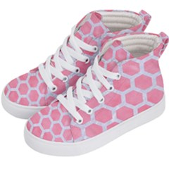 HEXAGON2 WHITE MARBLE & PINK WATERCOLOR Kid s Hi-Top Skate Sneakers