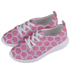 HEXAGON2 WHITE MARBLE & PINK WATERCOLOR Women s Lightweight Sports Shoes