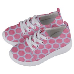 HEXAGON2 WHITE MARBLE & PINK WATERCOLOR Kids  Lightweight Sports Shoes