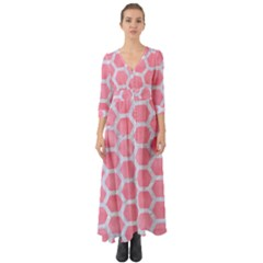 HEXAGON2 WHITE MARBLE & PINK WATERCOLOR Button Up Boho Maxi Dress