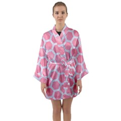 HEXAGON2 WHITE MARBLE & PINK WATERCOLOR Long Sleeve Kimono Robe