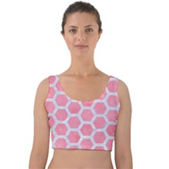 HEXAGON2 WHITE MARBLE & PINK WATERCOLOR Velvet Crop Top