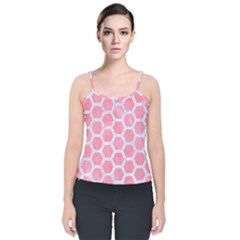 HEXAGON2 WHITE MARBLE & PINK WATERCOLOR Velvet Spaghetti Strap Top