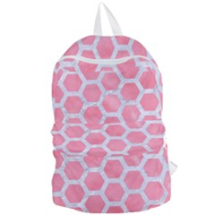 HEXAGON2 WHITE MARBLE & PINK WATERCOLOR Foldable Lightweight Backpack