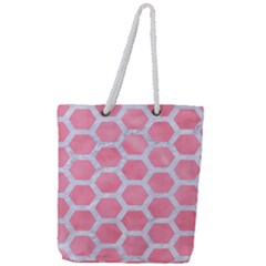 HEXAGON2 WHITE MARBLE & PINK WATERCOLOR Full Print Rope Handle Tote (Large)