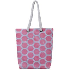 HEXAGON2 WHITE MARBLE & PINK WATERCOLOR Full Print Rope Handle Tote (Small)