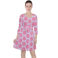 HEXAGON2 WHITE MARBLE & PINK WATERCOLOR Ruffle Dress