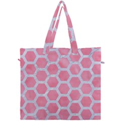 HEXAGON2 WHITE MARBLE & PINK WATERCOLOR Canvas Travel Bag