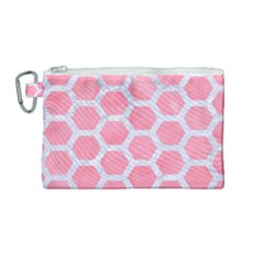 HEXAGON2 WHITE MARBLE & PINK WATERCOLOR Canvas Cosmetic Bag (Medium)