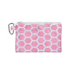 HEXAGON2 WHITE MARBLE & PINK WATERCOLOR Canvas Cosmetic Bag (Small)
