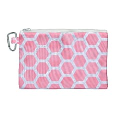 HEXAGON2 WHITE MARBLE & PINK WATERCOLOR Canvas Cosmetic Bag (Large)