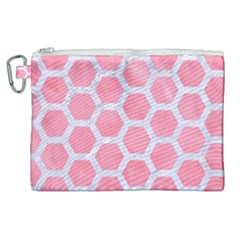 HEXAGON2 WHITE MARBLE & PINK WATERCOLOR Canvas Cosmetic Bag (XL)