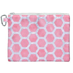 HEXAGON2 WHITE MARBLE & PINK WATERCOLOR Canvas Cosmetic Bag (XXL)