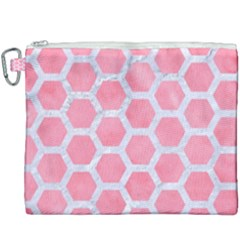 HEXAGON2 WHITE MARBLE & PINK WATERCOLOR Canvas Cosmetic Bag (XXXL)