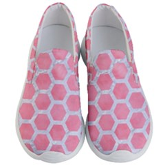 HEXAGON2 WHITE MARBLE & PINK WATERCOLOR Men s Lightweight Slip Ons