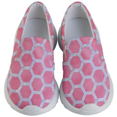 HEXAGON2 WHITE MARBLE & PINK WATERCOLOR Kid s Lightweight Slip Ons