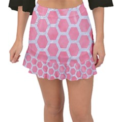 HEXAGON2 WHITE MARBLE & PINK WATERCOLOR Fishtail Mini Chiffon Skirt