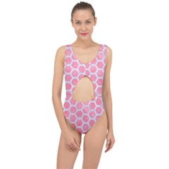 HEXAGON2 WHITE MARBLE & PINK WATERCOLOR Center Cut Out Swimsuit