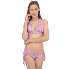 HEXAGON2 WHITE MARBLE & PINK WATERCOLOR Tie It Up Bikini Set