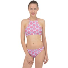 HEXAGON2 WHITE MARBLE & PINK WATERCOLOR Racer Front Bikini Set