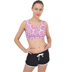 HEXAGON2 WHITE MARBLE & PINK WATERCOLOR V-Back Sports Bra