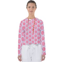 HEXAGON2 WHITE MARBLE & PINK WATERCOLOR Women s Slouchy Sweat