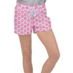 HEXAGON2 WHITE MARBLE & PINK WATERCOLOR Women s Velour Lounge Shorts