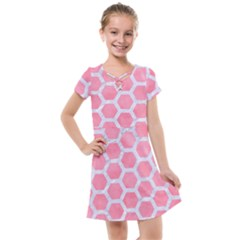 HEXAGON2 WHITE MARBLE & PINK WATERCOLOR Kids  Cross Web Dress