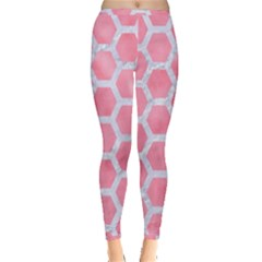 HEXAGON2 WHITE MARBLE & PINK WATERCOLOR Inside Out Leggings