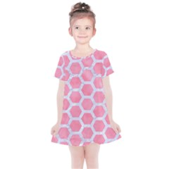 HEXAGON2 WHITE MARBLE & PINK WATERCOLOR Kids  Simple Cotton Dress