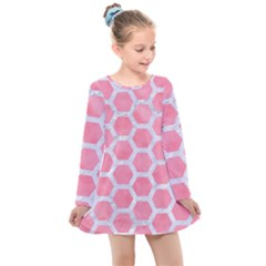 HEXAGON2 WHITE MARBLE & PINK WATERCOLOR Kids  Long Sleeve Dress