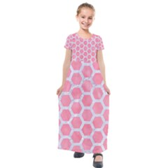 HEXAGON2 WHITE MARBLE & PINK WATERCOLOR Kids  Short Sleeve Maxi Dress